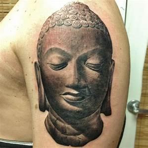 Black Buddha Face In Om Tattoo Design