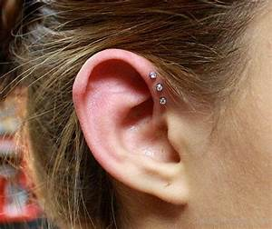 Triple Stone Helix Piercing