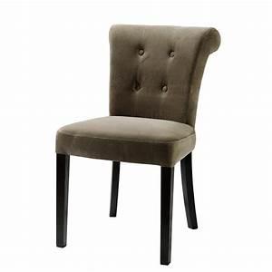Chaise Velours Design : chaise capitonn e en velours et bois taupe boudoir maisons du monde ~ Teatrodelosmanantiales.com Idées de Décoration