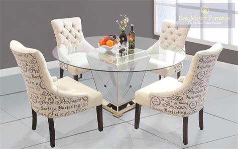 Best Furniture Yj001 Glass Top Round Dining Set