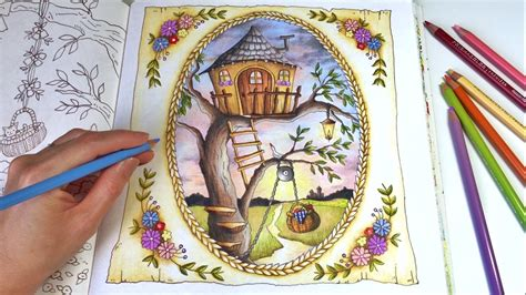 treehouse romantic country  fantasy coloring book