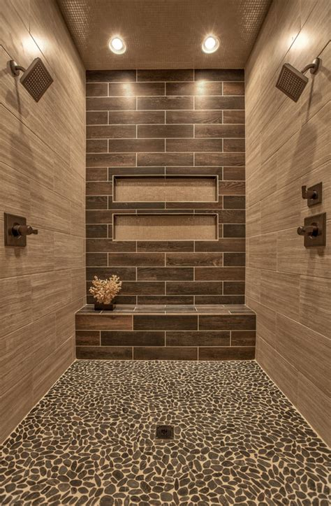 wood bathroom shower tile accent wall ideas