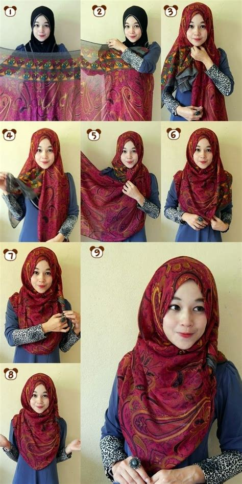 memakai jilbab segi empat kreasi remaja modis