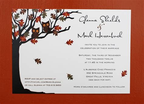 Owls in a Fall Oak Tree Wedding Invitations emDOTzee Designs