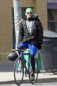 Jared Leto shows off bright green hair as he cycles around ...