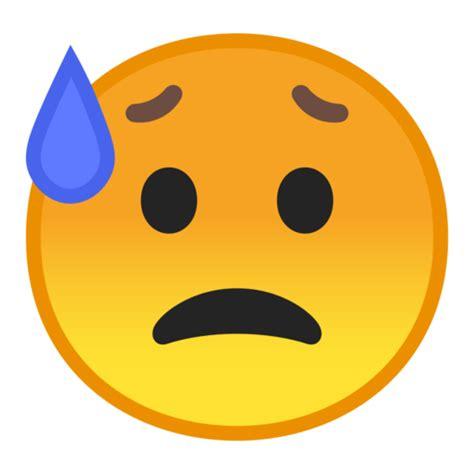 rosto triste mas aliviado emoji
