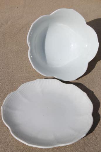 Pure white porcelain rice bowls, set of 6 lotus flower