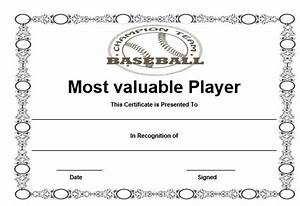 basketball mvp certificate template - 20 attention grabbing free printable baseball