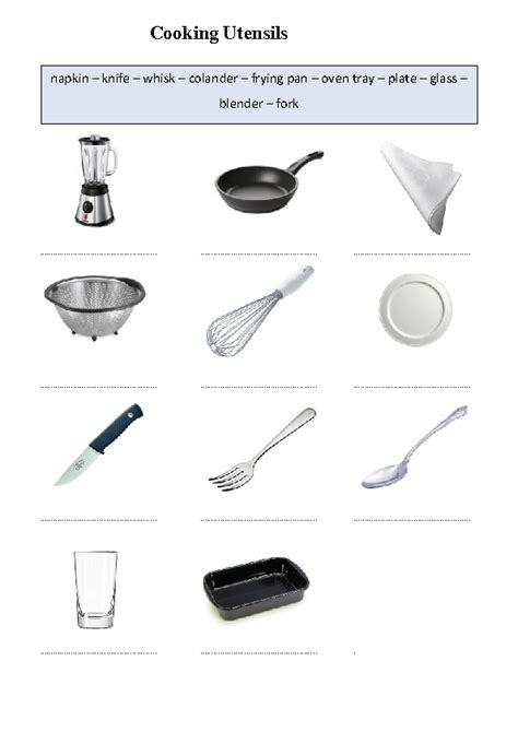 Kitchen Equipment Worksheet Answers by 82 Free Cooking Worksheets
