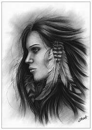 Native Indian Woman Drawing