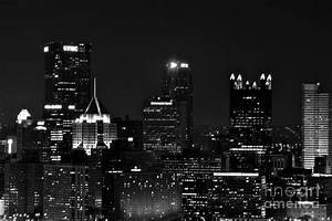 Black And White Buildings At Night Photograph by Jay Nodianos