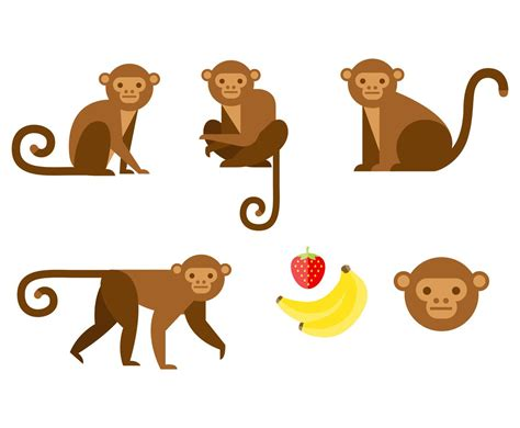 flat brown monkey vector graphics freevector