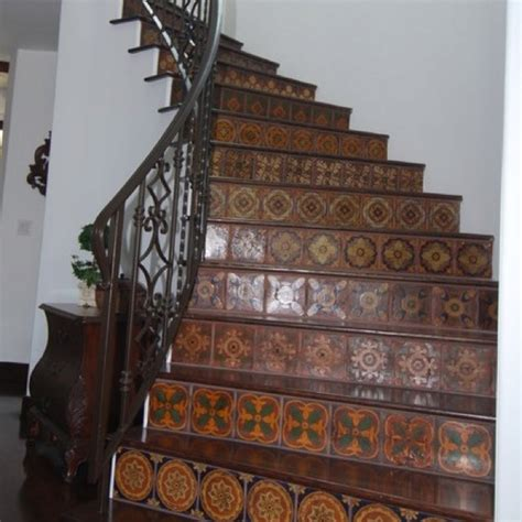 decorated tile stair risers for the home