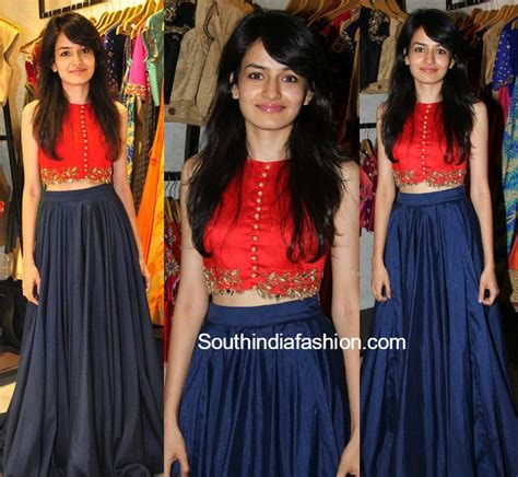 Simple and Pretty Long Skirt and Crop Top u2013South India Fashion