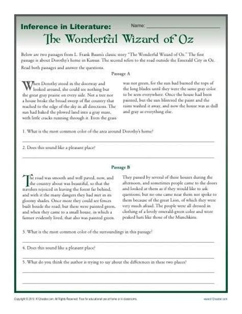 inference in literature the wizard of oz rdg strategies