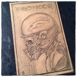 Denver Broncos Skull Drawing