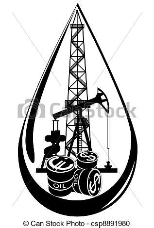 The oil business. Oil and gas industry. black and white