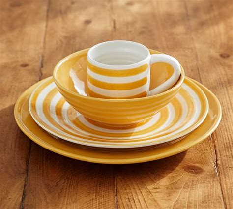 pottery barn dinnerware reese dinnerware yellow set of 4 pottery barn
