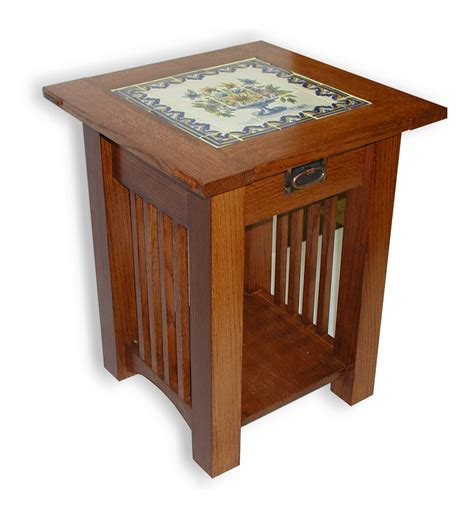wooden table with tile top end tables designs tile top end table blue white