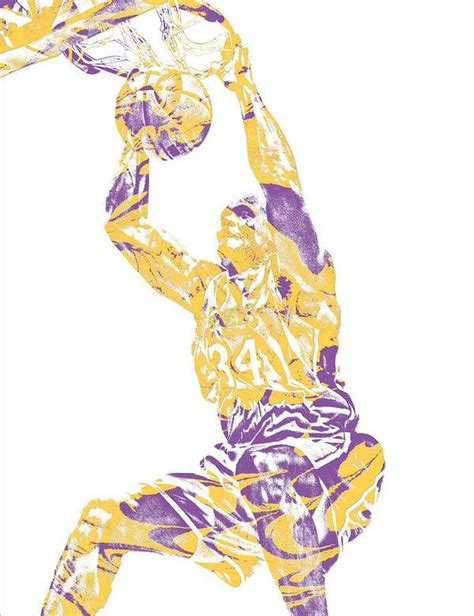Shaquille ONeal LOS ANGELES LAKERS PIXEL ART 9 Art Print ...