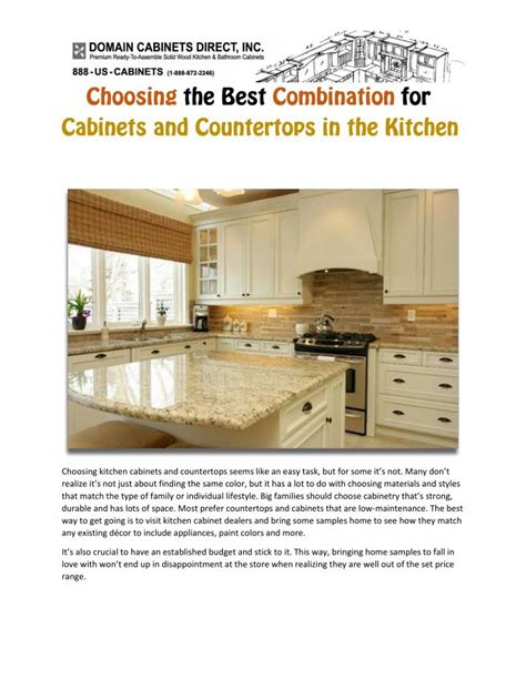 Ppt Choosing The Best Combination For Cabinets And