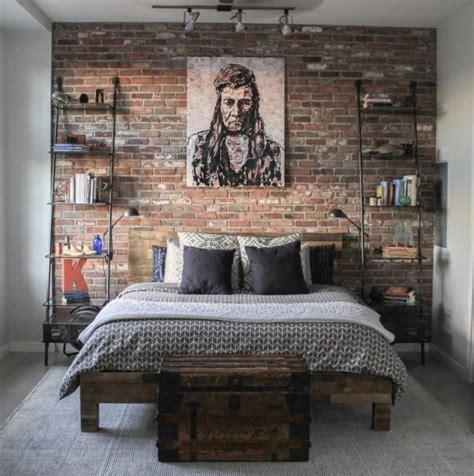 artistic vintage brick wall design  home interior   board industrial bedroom design