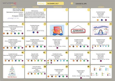 menu comedor men 218 comedor escolar diciembre colegio el ope