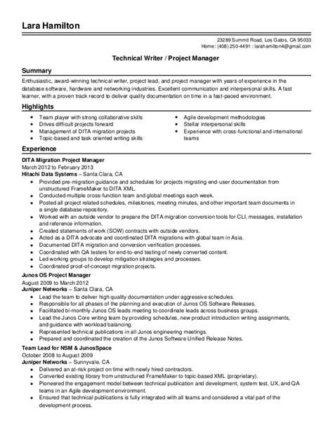 Resume Of A Senior Technical Writer by Senior Technical Writer Project Manager