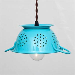 inspired whims diy homemade pendant lights With colander pendant light
