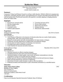 college resume sle 2014 ged unforgettable lead educator resume exles to stand out myperfectresume
