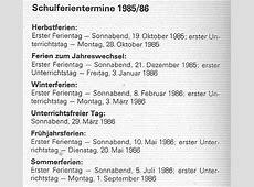 Schulferien DDR 19851986