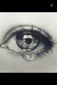 Black And White Crying Eye Drawing 35710 | LINEPC