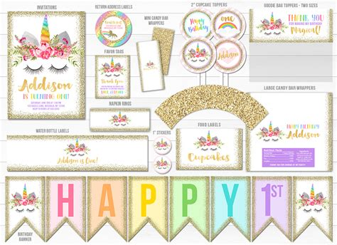 printable unicorn face  gold glitter birthday party