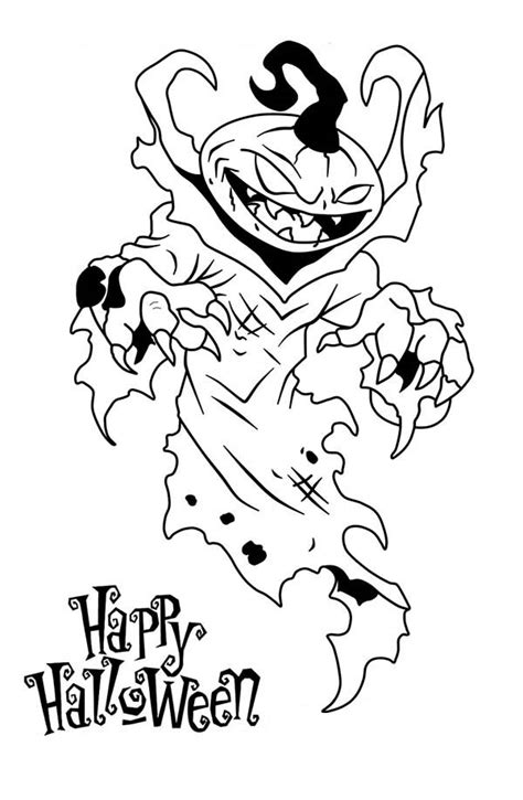 happy halloween  scary pumpkin coloring page