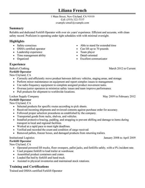How To Put Forklift Certification On Resume by Best Forklift Operator Resume Exle Livecareer Gggg
