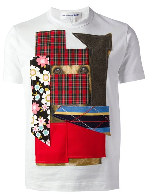 patchwork t shirt comme des garçons patchwork tshirt in white for lyst