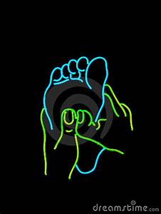 Neon Foot Massage Sign Stock Image