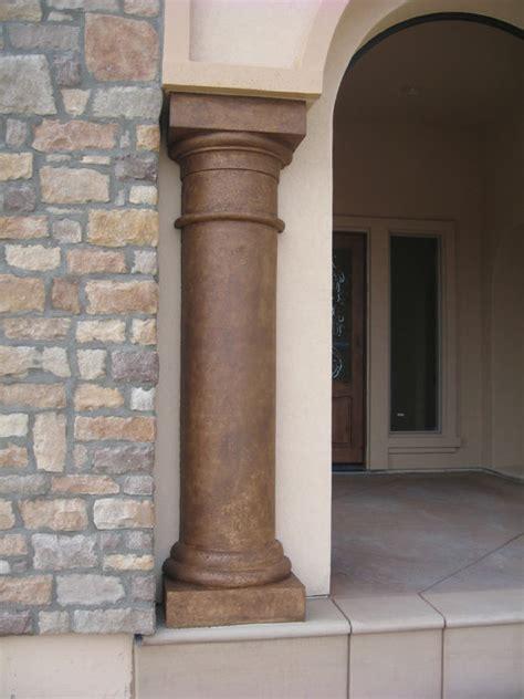 faux travertine column mediterranean exterior