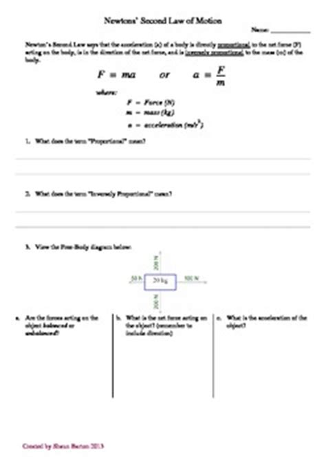 newtons second worksheet newton s second of motion worksheet by aussie science