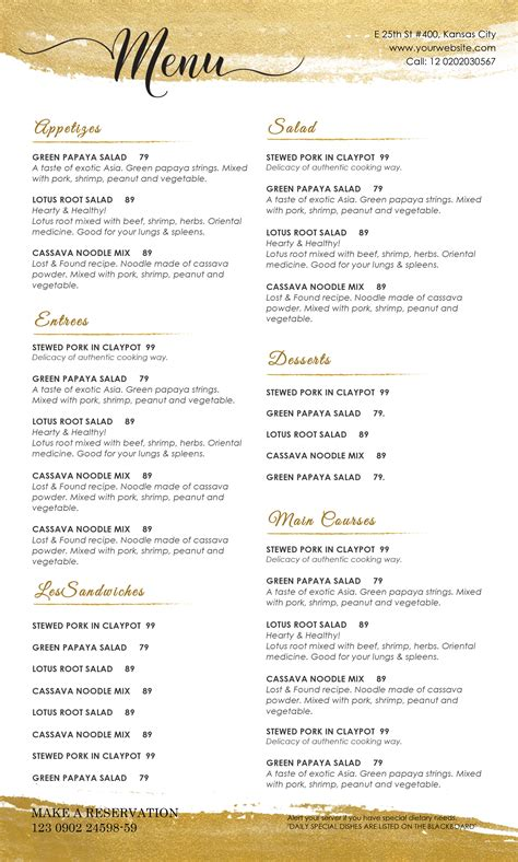 Drink Menu Templates Microsoft Word by Design Templates Menu Templates Wedding Menu Food
