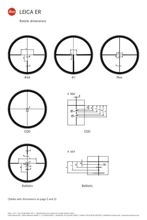 Reticles Subtensions LEICA ER | Optics Trade