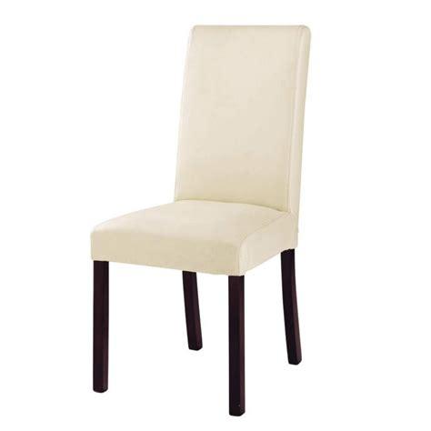 chaise en cro 251 te de cuir et bois ivoire harvard maisons du monde