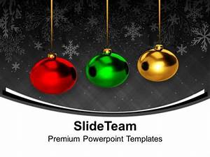 Technology Roadmap Powerpoint Template Christmas Ornament Colourful Balls Hanging Powerpoint
