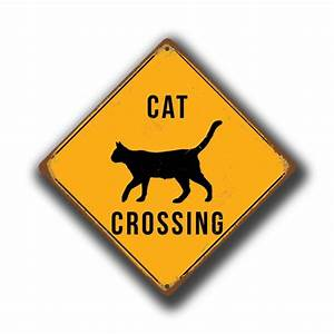 Cat Crossing Sign - Yellow Cat Crossing Signs Classic