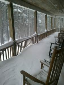 Winter Cabin Front Porch