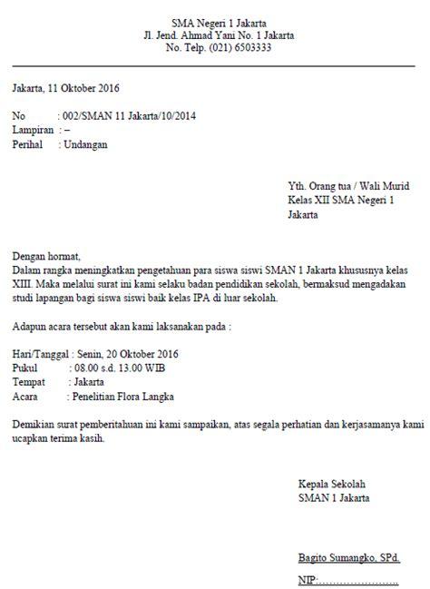 contoh surat dinas resmi sekolah  benar contoh surat
