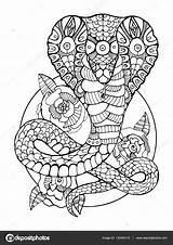 Coloring Cobra Snake Depositphotos Tattoo Colorear Serpiente Coloriage St3 Serpents Voor Slang Serpent Ninjago Adultos Volwassenen Animaux Dibujos Boek Kobra sketch template
