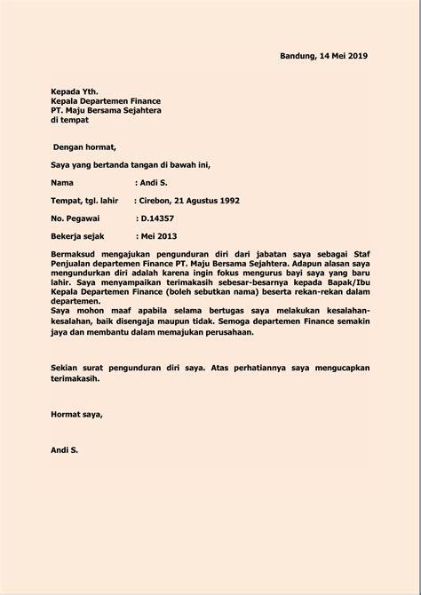 contoh surat pengunduran diri kerja  rumah sakit