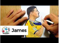 Dibujo del colombiano James Rodriguez festejando un gol vs