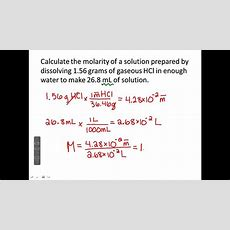 Molarity And Dilution Youtube